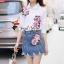 เสื้อผ้าเกาหลี พร้อมส่ง เสื้อปักดอกไม้กับกระโปรงยีนส์ thumbnail 6