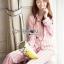 เสื้อผ้าเกาหลี พร้อมส่ง ชุดนอน เชิ้ต และกางเกงลายทาง thumbnail 2
