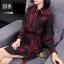 ชุดเดรสเกาหลี พร้อมส่ง ชุดเดรส ผ้าหางกระรอกพิมลาย thumbnail 4