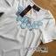 พร้อมส่ง เซ็ตเสื้อคอกลมและกระโปรงสีฟ้าลายดอกไม้ thumbnail 16