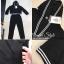 เสื้อผ้าเกาหลี พร้อมส่ง เสื้อทรงครอปสีดำ คอวี thumbnail 8