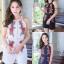 เสื้อผ้าแฟชั่นเกาหลี จั้มสูทปักดอกกุหลาบ พร้อมส่ง thumbnail 1
