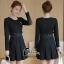 พร้อมส่ง Mini dress เรียบร้อยสีดำ thumbnail 1