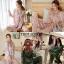 เสื้อผ้าเกาหลี พร้อมส่ง Set ชุดนอน ผ้าไหมแพร thumbnail 4