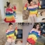 เสื้อเกาหลี พร้อมส่ง เสื้อไหมพรม สลับสีสดใสเป็นเรนโบว์ thumbnail 2