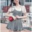 เสื้อผ้าเกาหลี พร้อมส่ง เพลย์สูท ลายสก็อตทรงสายเดี่ยวผูกโบ thumbnail 8