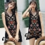 พร้อมส่ง mini dress สีดำแขนกุด ปักดอกไม้ thumbnail 1