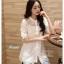 เสื้อเกาหลี พร้อมส่ง เสื้อ cotton ปักลายดอกไม้ thumbnail 4