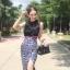 เสื้อผ้าเกาหลี พร้อมส่ง เสื้อแขนกุดกับกระโปรงลายเสือเอวสูง thumbnail 2