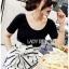 เสื้อผ้าเกาหลี พร้อมส่ง เสื้อยืดสีดำและกางเกงลายทาง thumbnail 5