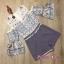 เสื้อผ้าเกาหลี พร้อมส่ง จั๊มสูท เว้าไหล่ ลายดอกไม้ thumbnail 5