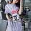 พร้อมส่ง Stripy CC Red dot Bow Print Dress Shirt เดรสเกาหลี thumbnail 3