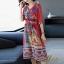 เดรสเกาหลี พร้อมส่ง Dress คอวี แขน 3 ส่วน thumbnail 2