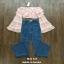 เสื้อผ้าเกาหลี พร้อมส่ง เสื้อเปิดไหล่ กับ กางเกงยีนส์ เอวสูง thumbnail 2