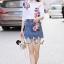 เสื้อผ้าเกาหลี พร้อมส่ง เสื้อปักดอกไม้กับกระโปรงยีนส์ thumbnail 5