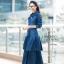 ชุดเดรสเกาหลี พร้อมส่ง Maxi Dress ยีนส์ระบาย thumbnail 5