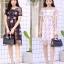ชุดเดรสเกาหลี พร้อมส่ง Dress ผ้าแก้วปักลูกไม้ลายดอก thumbnail 1