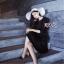 Dressแขนยาวสี่ส่วน ผ้าเรียบสีดำ พร้อมส่ง thumbnail 3
