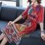 เดรสเกาหลี พร้อมส่ง Dress คอวี แขน 3 ส่วน thumbnail 4