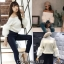 เสื้อเกาหลี พร้อมส่ง เสื้อ knit แขนเฟอร์ thumbnail 4