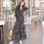 ชุดเดรสเกาหลี พร้อมส่ง Maxi Dress ทรงบาน คอวีป้ายอก thumbnail 7