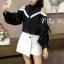 เสื้อเกาหลี พร้อมส่ง เสื้อเชิ้ตตคอปก โชว์ไหล่ thumbnail 14