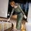 เดรสลูกไม้ พร้อมส่ง Maxi dress ลูกไม้ สีเขียว + เข็มขัดหนัง thumbnail 2