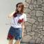 พร้อมส่ง ชุดเซ็ทเสื้อ+กางเกงยีนส์ปักขาสั้นเกาหลี thumbnail 1