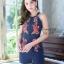 เสื้อผ้าแฟชั่นเกาหลี จั้มสูทปักดอกกุหลาบ พร้อมส่ง thumbnail 12