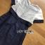 พร้อมส่ง เดรสผ้าซิลค์คอตตอนสีขาว-น้ำเงิน thumbnail 9