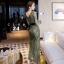 เดรสลูกไม้ พร้อมส่ง Maxi dress ลูกไม้ สีเขียว + เข็มขัดหนัง thumbnail 3