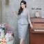 ชุดเดรสเกาหลี พร้อมส่ง Dress ผ้าไหมปักลูกไม้คอวี thumbnail 6