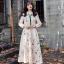 ชุดเดรสเกาหลี พร้อมส่ง Dress ยาว สีครีม thumbnail 1