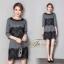 ชุดเดรสเกาหลี พร้อมส่ง Dress คอกลม แขนยาว thumbnail 3