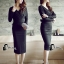 พร้อมส่ง long dress สีดำคอวีหน้าหลัง thumbnail 1
