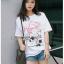 เสื้อเกาหลี พร้อมส่ง ทีเชิ้ตสีขาวปักดอกไม้ thumbnail 6