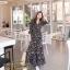 ชุดเดรสเกาหลี พร้อมส่ง Maxi Dress ทรงบาน คอวีป้ายอก thumbnail 1