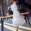 เดรสเกาหลี พร้อมส่ง ชุดเดรสเจ้าหญิงผ้าลูกไม้ปักสีขาว thumbnail 4
