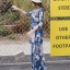ชุดเดรสเกาหลี พร้อมส่ง maxi dress สีน้ำเงินพิมพ์ลายดอก thumbnail 4