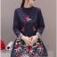 เดรสเกาหลี พร้อมส่ง เดรสสั้นทรงเอ ปักดอกไม้ thumbnail 3