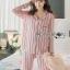 เสื้อผ้าเกาหลี พร้อมส่ง ชุดนอน เชิ้ต และกางเกงลายทาง thumbnail 6