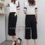 เสื้อผ้าเกาหลี พร้อมส่ง เสื้อกับกางเกงขาบาน 7 ส่วน thumbnail 3