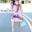 เดรสเกาหลี พร้อมส่ง มินิเดรส ปักดอกไม้ สีชมพู thumbnail 2