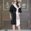 เดรสเกาหลี พร้อมส่ง Long Dress เดรสทูโทน ตัวยา thumbnail 10
