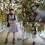 ชุดเดรสเกาหลี พร้อมส่ง เสื้อคอปีน+เดรสกระโปรง thumbnail 5
