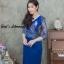 ชุดเดรสเกาหลี พร้อมส่ง เดรสผ้าไหมบนลูกไม้ดิ้นทองคอวี thumbnail 4