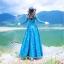 ชุดเดรสเกาหลี พร้อมส่ง เดรสยาว สีน้ำเงินเข้ม สีสวย คอปก thumbnail 5
