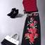 พร้อมส่ง เสื้อกล้ามโทนสีแดงตัดกับโทนสีดำกับกระโปรงทรงเอวสูง thumbnail 3