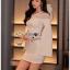 เดรสเกาหลี พร้อมส่ง เดรสผ้าเครปสีขาวทรงบอดี้คอน thumbnail 2
