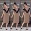เดรสเกาหลี พร้อมส่ง Sleeveless V Dress เว้าไหล่ thumbnail 5